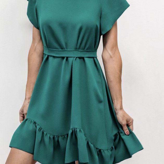 Krátke šaty s volánom ZELENÉ
