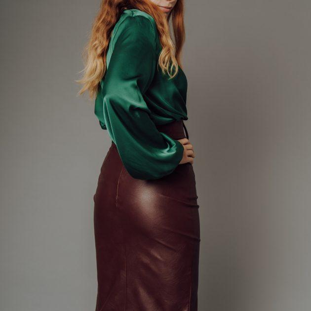 Koženková sukňa BURGUNDY