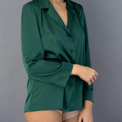 saténové pyžamo zelené krátke lassak shop