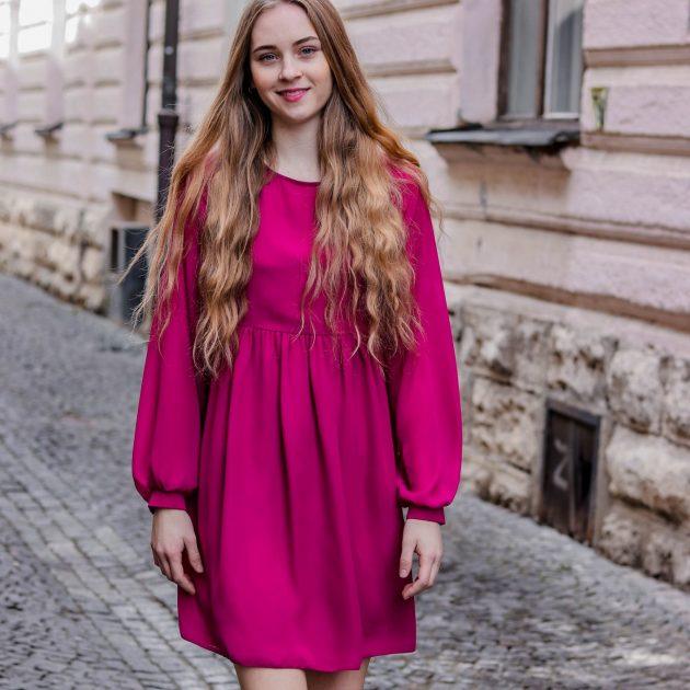 Šifónové šaty voľného strihu CYKLAMÉNOVÁ