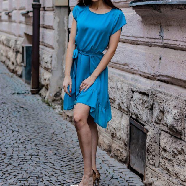 šaty s volánom TYRKYSOVÁ