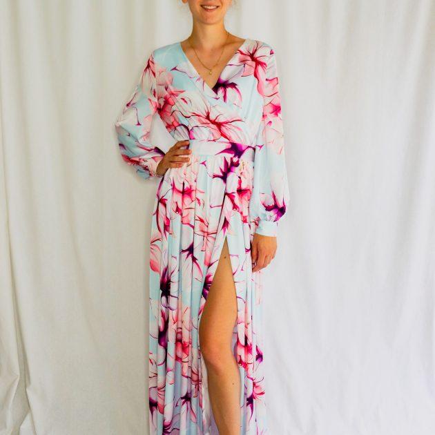 Dlhé kvetované šaty MODRÉ