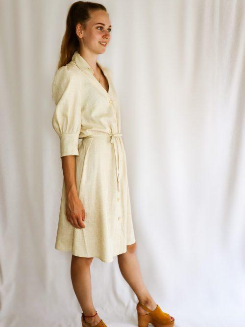 Ľanové košeľové šaty