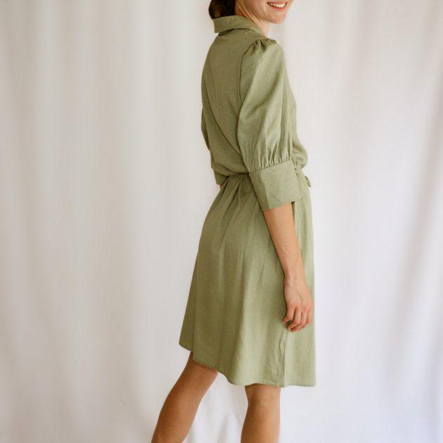Ľanové košeľové šaty zelené 2