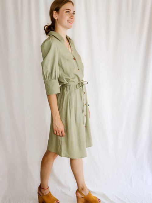 Ľanové košeľové šaty zelené