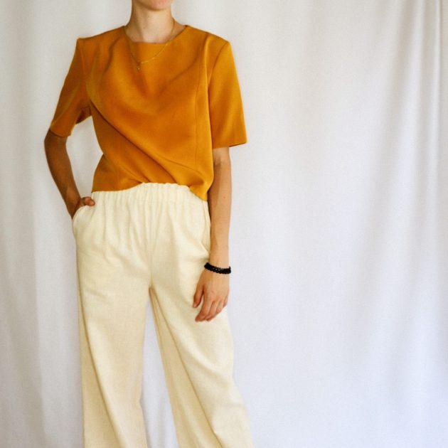 Ľanové nohavice s vysokým pásom