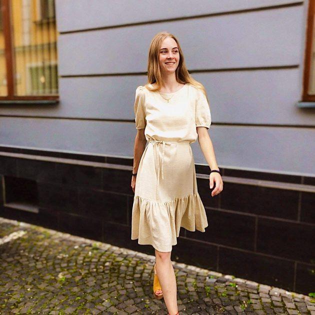 Ľanové šaty s volánom 3