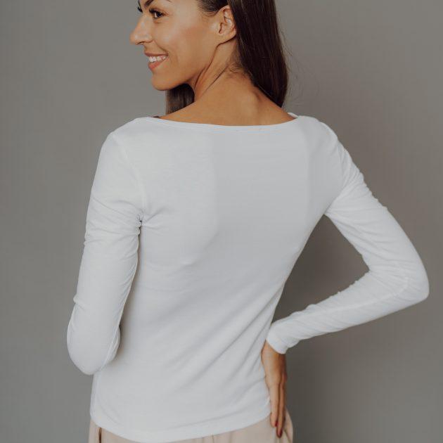 Biele tričko, dlhý rukáv