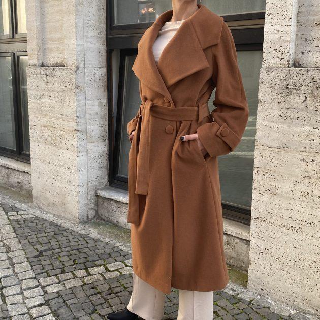 Oversize kabát HNEDÝ